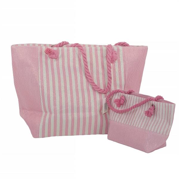Rannakott roosa/triibuline