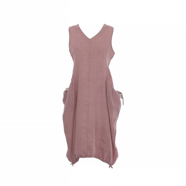 Marisol linane kleit nööridega roosa