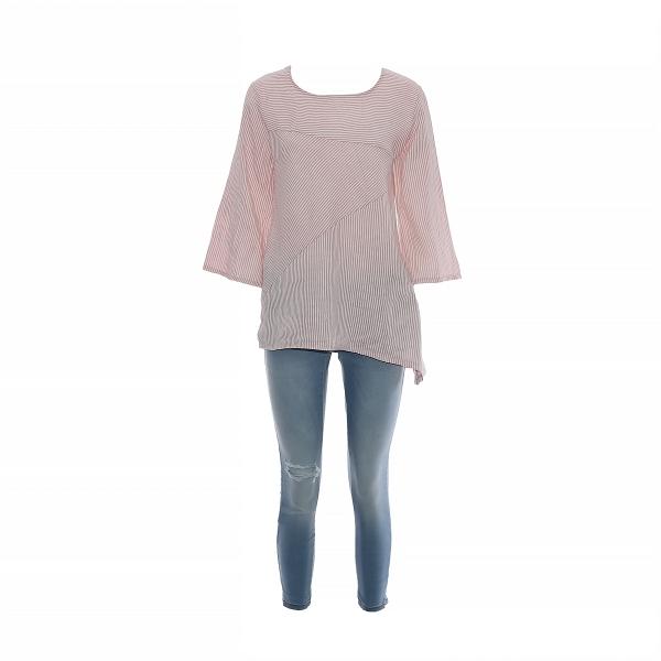 Marisol linane pluus triibuline roosa